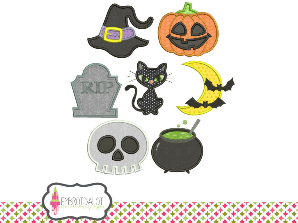 Halloween applique embroidery design set cute assorted