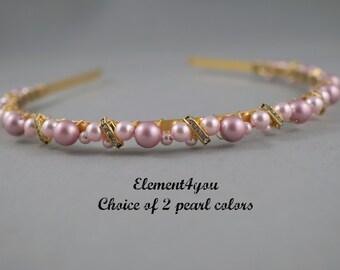 Bridal Gold Headband, Pearl headband, Bridal headpiece, Wedding hair tiara, Rhinestone ivory champagne pearls hair piece, Swarovski pearls