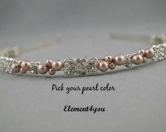 Bridal Headband, Pearl Tiara, Vintage rhinestone hair piece, Swarovski ivory or white pearls, Wedding Head band, Silver beaded head piece