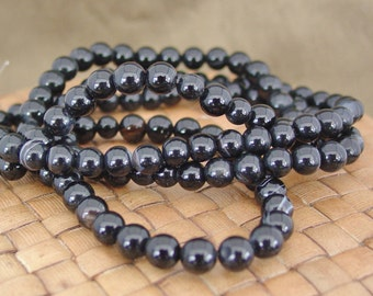 14 in strand 6mm Round Black Agate Beads