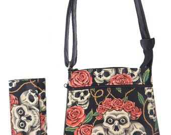 "A Cross Body Bag & A Matching Wallet With "" Skulls Pink Roses"" Gothic Halloween Pattern, Cotton, New , (Only 2 Items)"