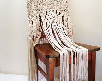 Hand Knitted Macrame Dining Room Chair Cover