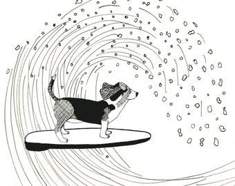 Basset Hound Dog Surfing on a Wave Print
