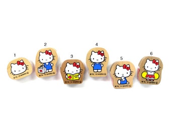 Cute Sanrio Hello Kitty Japanese Wooden Rubber Stamp  for cards, tags invitations making, scrapbooking, packaging