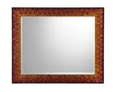 Handmade Mosaic Wall Mirror - Brown, Copper, Red, Orange