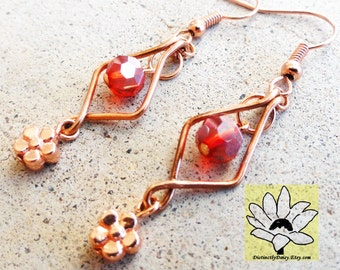 Red Crystal and Copper Earrings Wire-wrapped Handmade Daisy Dangle Beaded Earrings By Distinctly Daisy