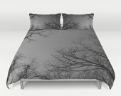 Duvet Cover Set - Comforter Cover - Trees and Sky - White Black Gray - Nature Bedding - King Queen Full Twin