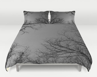 duvet cover set comforter cover trees and sky white black gray nature
