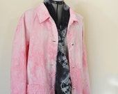 Pink Large Denim JACKET - Pastel Pink Dyed Upcycled Adrian Delafield Denim Barn Blazer Jacket - Adult Women Size Large (48 chest)