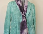 "Celadon Sz 8 Small Denim JACKET - Mint Green Dyed Upcycled Gap Denim Blazer Jacket - Adult Womens Size 8 Small (38"" chest)"
