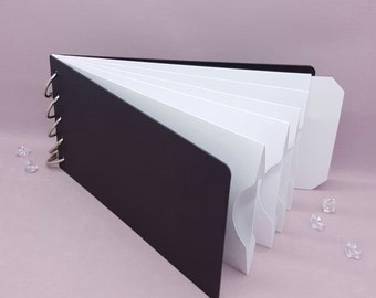 """White, Pocket Tag, Chipboard Album, Size 8-1/4"""" x 4-1/4"""", Scrapbooking, Memory Keeping, Photo Album, Black Covers"""