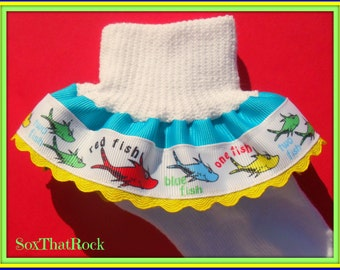 Dr. Seuss One Fish Two Fish girls Double Ruffle Socks. You pick Solid Ribbon Color and ric rac color