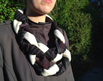 Black and White Wool Braided Infinity Scarf