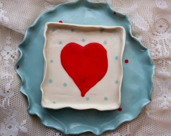 Valentine Personalize, Gift, Pottery, Square Porcelain Dessert Plates with Hearts and Polka Dots, Red, Blue, White, Porcelain, Set of 2