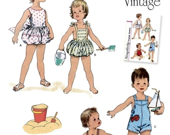 Baby and Toddler's Classic Sunsuit Pattern, Boys' and Girls' Vintage 1950's Playsuit Pattern, Sz Nb to 18mo, Simplicity Sewing Pattern 8143