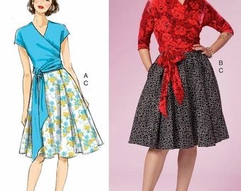 Wrap Top Pattern, Gathered Skirt Pattern, Skirt and Wrap Top Pattern by Gertie, Butterick Sewing Pattern 6285
