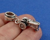Tractor European Dangle Bead Charm - Sterling Silver Tractor Charm for European Bracelet