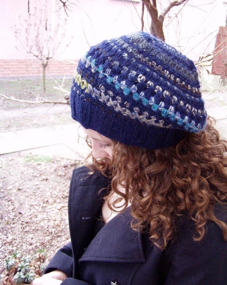 blue womens hat, beret hat