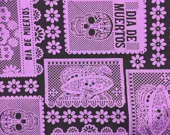 Day of the Dead Halloween Sugar Skulls Fabric