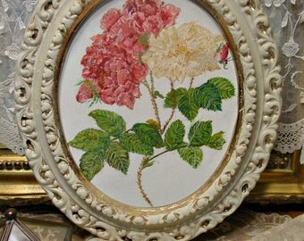 Hand Painted Hydrangeas - Vintage Ornate Frame - Oil Painting - Wall Art - Gilded Ornate Frame - Home Decor