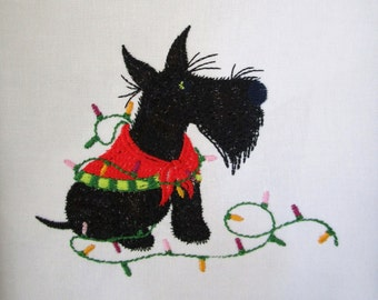 9 Christmas Scottie's  Embroidered Quilt Blocks