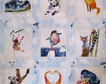 Sweet Animal Friends Fabric Quilt Block Panel