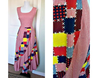 Vintage 70s patch print swirly red gingham dress