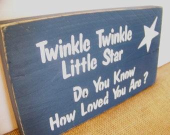 Reclaimed Barnwood Sign Twinkle Twinkle Little Star...Blue Nursery Sign...Baby Boy Sign