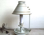 Lamp, Toleware Federal Vintage Table Lamp White Hand Painted
