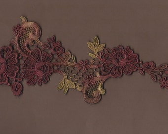 Hand Dyed Floral Venise Lace Applique  Deep vintage Rose's n Rust