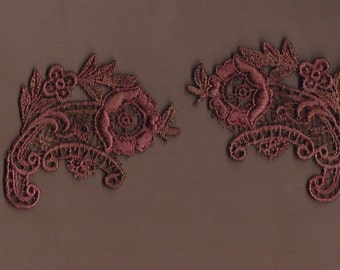 Hand Dyed Venise Lace Appliques Edwardian Bliss Vintage Aged Rose's n Rust (set of 2)