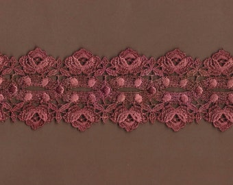 Hand Dyed Venise Lace Cabbage Roses  Vintage Rose's n Rust