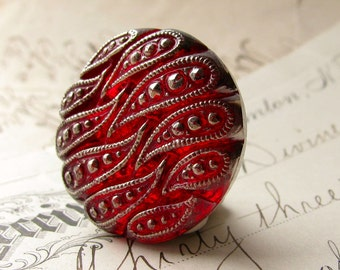 27mm round waves, scarlet red, deep red, blood red, Czech glass shankless button, hand painted, hand forged, flat back cabochon