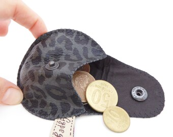 Leopard Leather Coin Purse / The Mini Gypsy Coin Purse in Black and Grey Leopard Print with Black Silk Lining