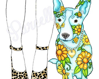 Best Buddies Floral Dog Silhouette 10 x 8 inch Art Print - Wall Art Home Decor