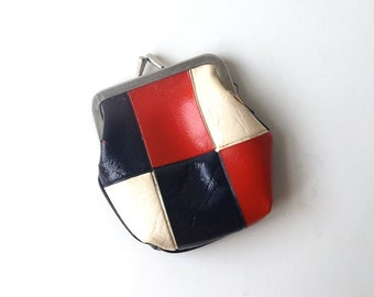 vintage 1960's vinyl coin purse mod red white blue checkered kiss lock bag pouch womens mid century modern retro fashion old color block