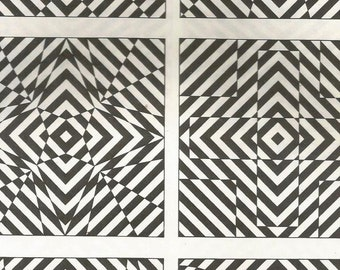 vintage 1970's optic illusion pattern art print book plate black & white pop art design retro home decor mod geometric picture wall 57 58