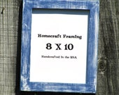 8X10 Picture Frame Distressed Blue White Shabby Cottage Chic Wooden Photo Frame