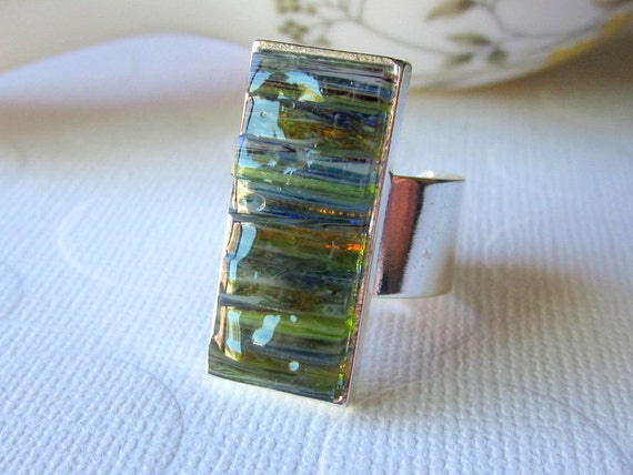 Moss Green Ring Swirl Ring Stained Glass Ring Size 7 - 10 Ring Thick Band Ring Mosaic Ring Wave Ring Ocean Ring Striped Ring Inlayed Ring