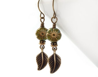 Olive Green Leaf Earrings - Picasso Glass Flower Beads - Rustic Jewelry - Boho Yoga Earrings