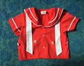 60s/70s Red Short-Sleeved Sailor Shirt, Baby Size 0-3 Months