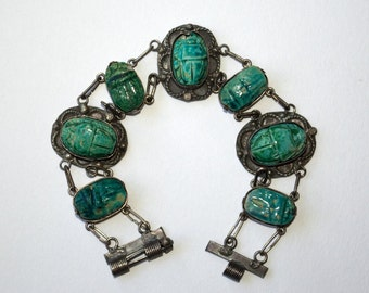 Art Deco Egyptian Revival scarab bracelet