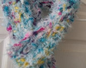 Long Fuzzy Knit Scarf, Sprinkles, White Turquoise, Pink, Purple, Yellow Fuzzy Textured Womens Accessory, Womens Knit Scarf, Womens Accessory