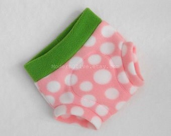 Medium Soaker Seedy Pink Strawberry Fleece Diaper Cover, Green, White Polka Dot, Ready to Ship