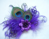 Small and Dainty Shades of Purple Peacock Feather & Crystal Vintage Mini Fascinator Hair Clip- Custom Order