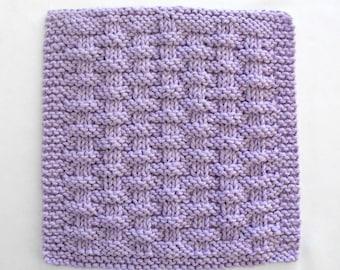 Knit Dishcloth, Cotton Washcloth, Purple Basketweave Face Cloth