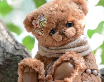 Amber artist silk mohair bear ooak