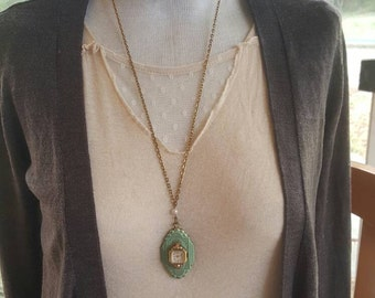 Vintage Pearl Assemblage Steampunk Locket  Necklace I