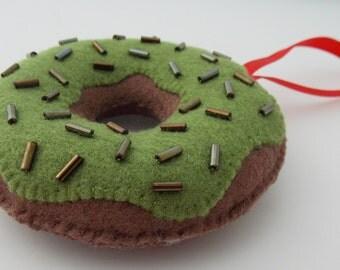 Matcha (Green Tea) Iced Chocolate Donut Christmas Ornament