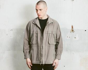 Vintage Parka JACKET . 90s Grey Lightweight Spring Jacket Men's Unisex Outerwear Coat 1990s Boyfriend Gift . size Medium
